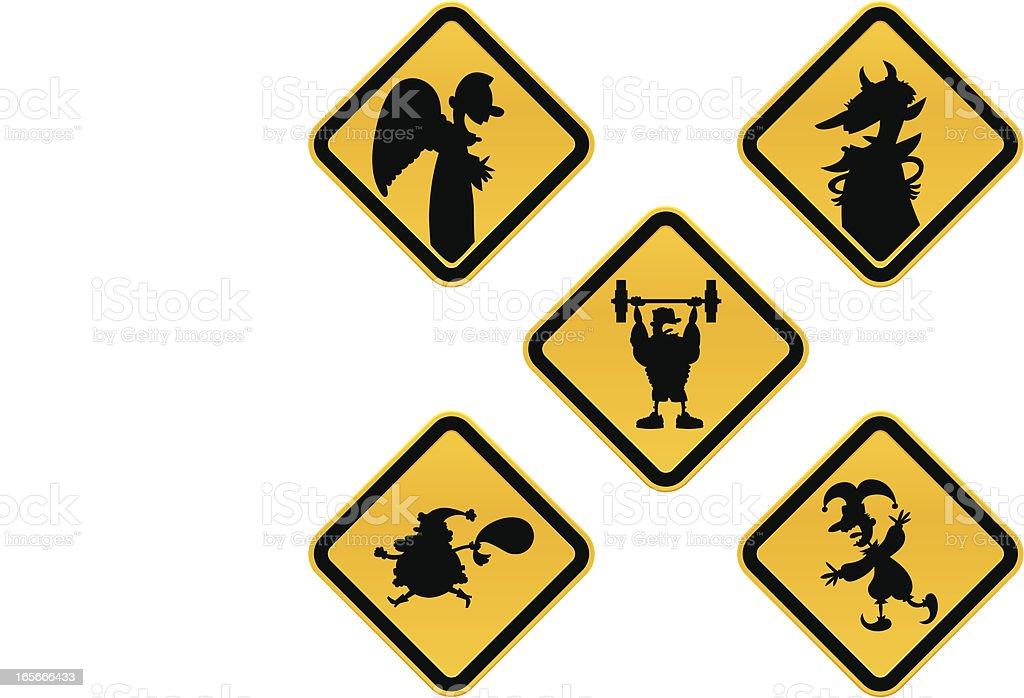 Caution Characters vector art illustration