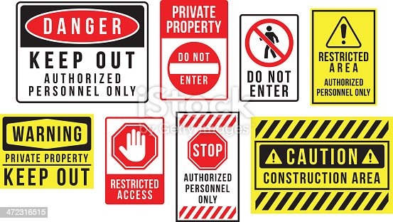istock Caution danger and warning signs 472316515
