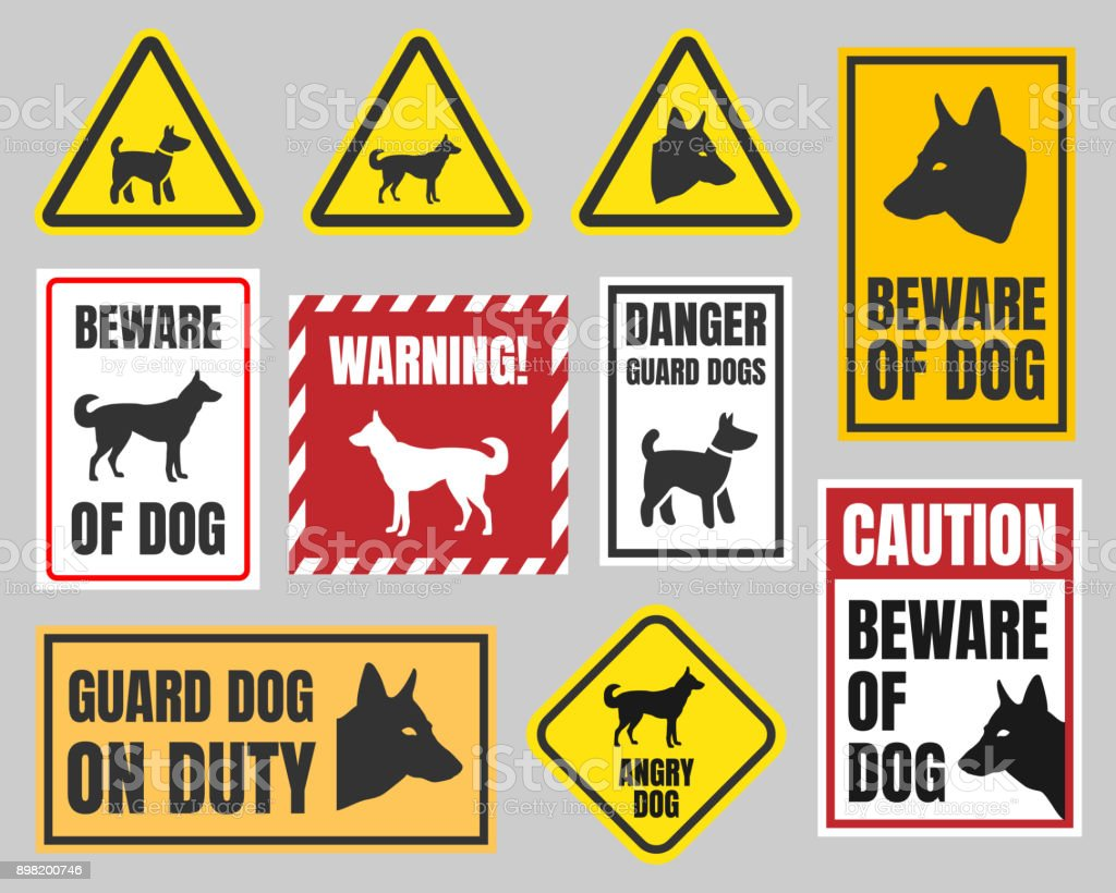 Caution Dog Signs Beware Of Dog Stock Vector Art More Images Of