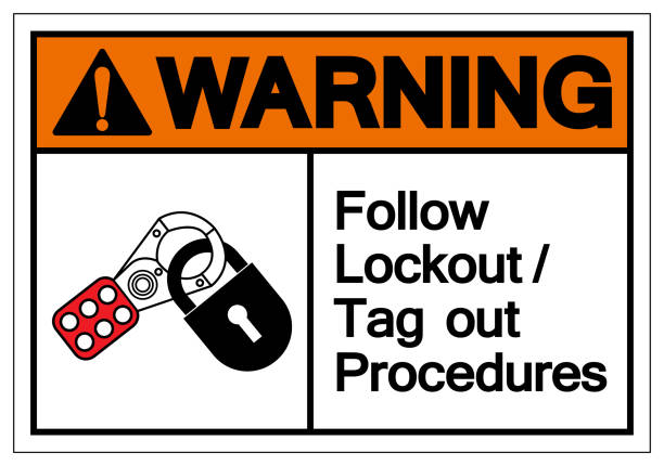 Caution Follow Lockout/Tagout Procedures Symbol Sign ,Vector Illustration, Isolate On White Background Label .EPS10 Caution Follow Lockout/Tagout Procedures Symbol Sign ,Vector Illustration, Isolate On White Background Label .EPS10 lockout stock illustrations