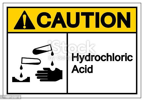 Caution Hydrochloric Acid Symbol Sign ,Vector Illustration, Isolate On White Background Label .EPS10
