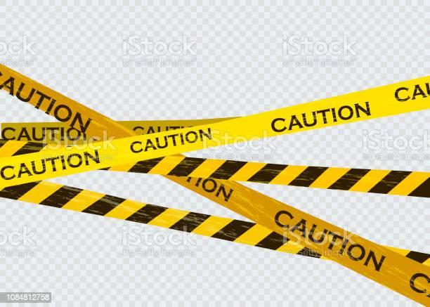 Caution Lines Isolated Warning Tapes Danger Signs Vector Illustration - Arte vetorial de stock e mais imagens de Acessibilidade
