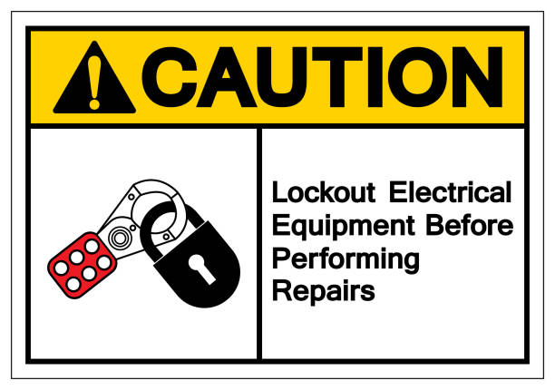Caution Lockout Electrical Equipment  Befor Performing Repairs Symbol Sign ,Vector Illustration, Isolate On White Background Label .EPS10 Caution Lockout Electrical Equipment  Befor Performing Repairs Symbol Sign ,Vector Illustration, Isolate On White Background Label .EPS10 lockout stock illustrations