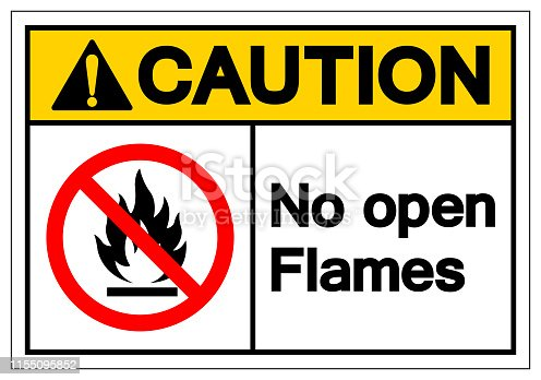 Caution No Open Flames Symbol Sign ,Vector Illustration, Isolate On White Background Label. EPS10