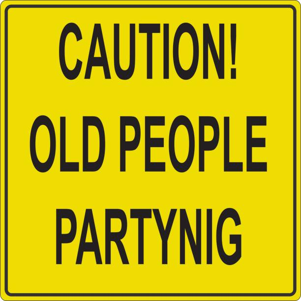 caution old people partying. funny road sign illustration. - old man mask stock illustrations