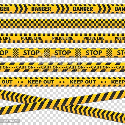 istock Caution perimeter stripes. Isolated black and yellow police line do not cross for criminal scene. Security lines sign or barricade tape vector set 955780932