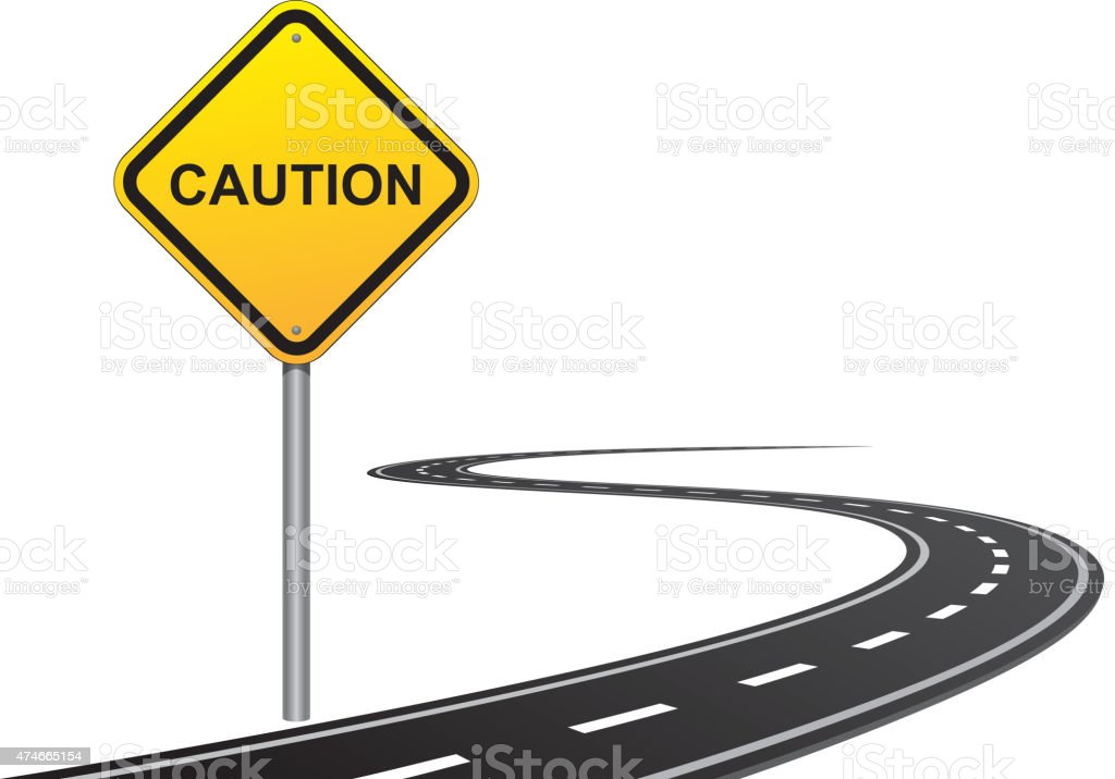 Caution road sign vector art illustration