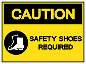 Caution Safety Shoes Required Symbol Sign,Vector Illustration, Isolated On White Background Label. EPS10