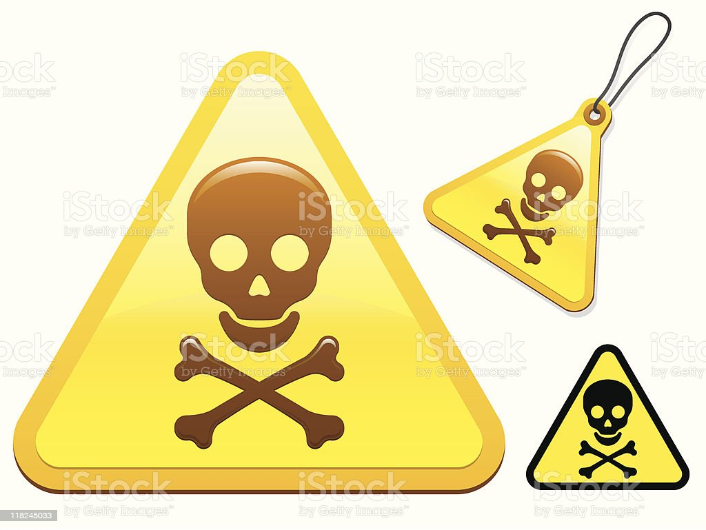 Caution sign with skull and bones royalty-free stock vector art