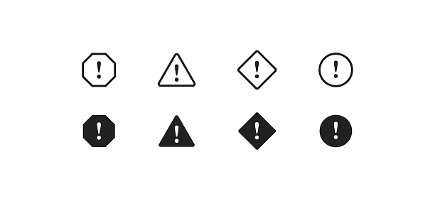 Caution, simple icon set. Danger concept illustration. Risk sign in vector flat style.