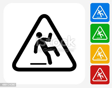 Caution Slippery Sign Icon. This 100% royalty free vector illustration features the main icon pictured in black inside a white square. The alternative color options in blue, green, yellow and red are on the right of the icon and are arranged in a vertical column.