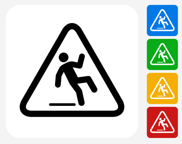 Caution Slippery Sign Icon Flat Graphic Design Caution Slippery Sign Icon. This 100% royalty free vector illustration features the main icon pictured in black inside a white square. The alternative color options in blue, green, yellow and red are on the right of the icon and are arranged in a vertical column. stealth stock illustrations