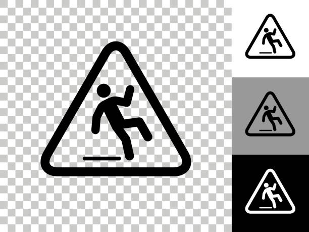 Caution Slippery Sign Icon on Checkerboard Transparent Background vector art illustration