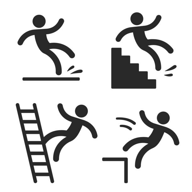 Caution symbols with man falling. Caution symbols with stick figure man falling. Wet floor, tripping on stairs, fall down from ladder and over the edge. Workplace safety and injury vector illustration. slippery stock illustrations