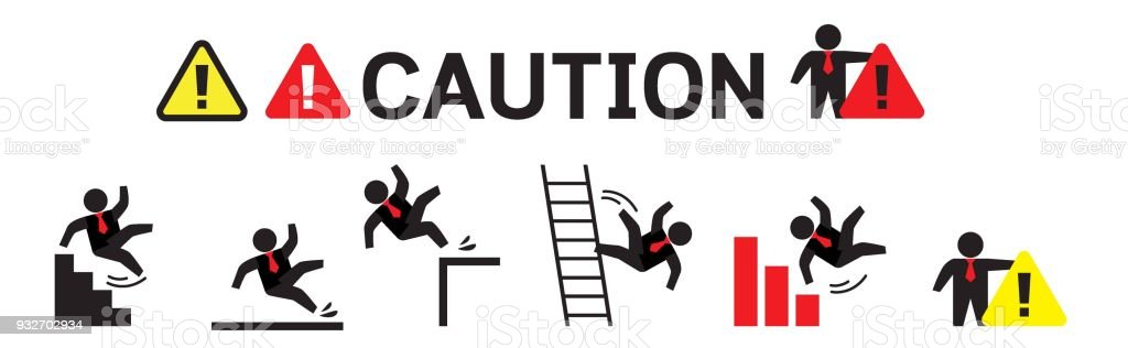 Caution symbols with stick figure man falling. Wet floor, tripping on stairs, fall down from ladder and over the egde. Workplace safety and injury vector illustration. vector art illustration