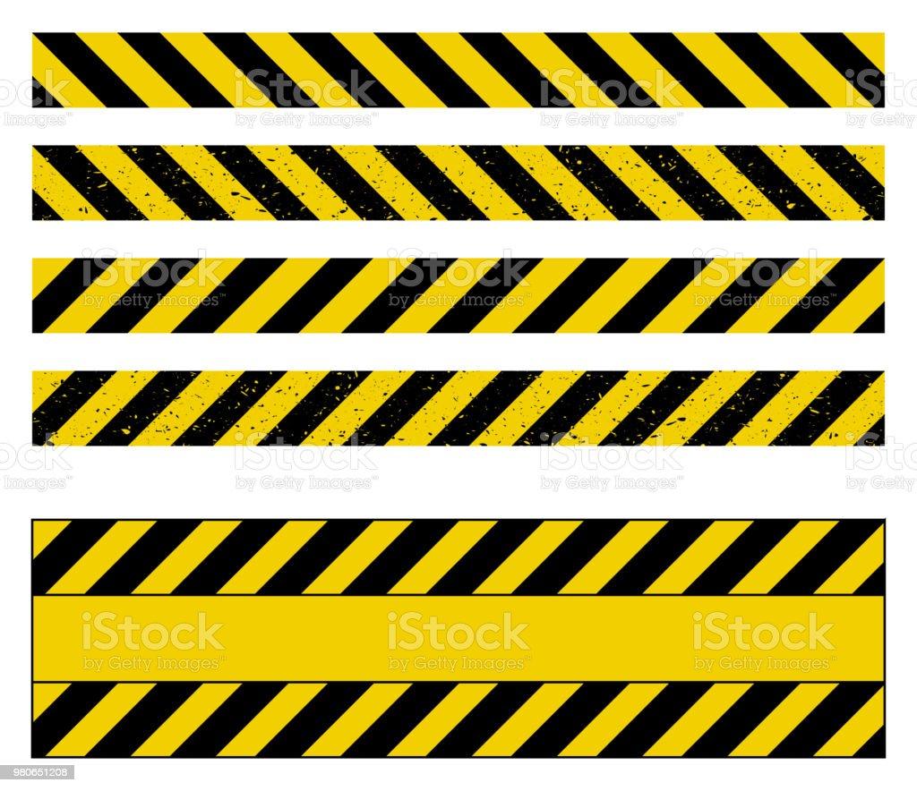 caution tape grunge set vector design isolated on white - Royalty-free Abaixo arte vetorial