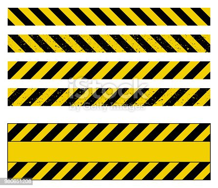 caution tape grunge set vector design isolated on white