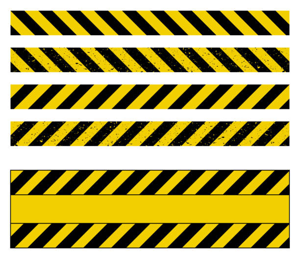 ilustrações de stock, clip art, desenhos animados e ícones de caution tape grunge set vector design isolated on white - seguros