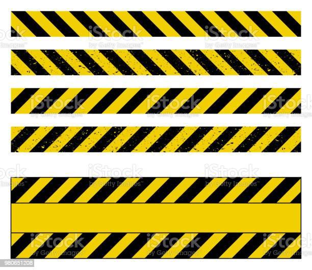 Caution Tape Grunge Set Vector Design Isolated On White - Arte vetorial de stock e mais imagens de Abaixo