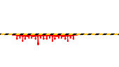 caution tape line yellow black stripe and blood drop isolated on white background, warning space with ribbon tape sign or comfort safety zone, safety banner for copy space, red blood on caution tape