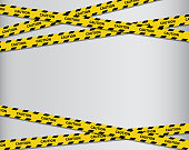 Caution tapes. Black and yellow line striped. Vector illustration