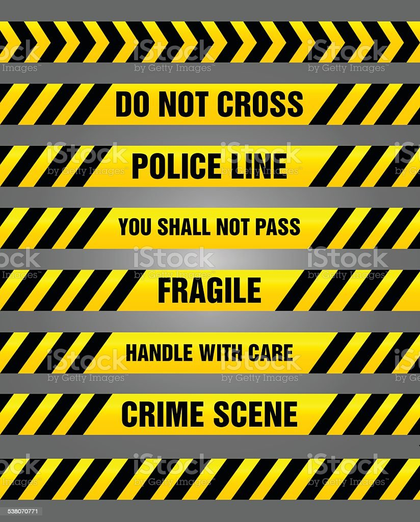 Caution tapes - yellow and black warning pattern vector art illustration