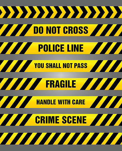 Caution tapes - yellow and black warning pattern Set of warning yellow tapes e.g. fragile, crime scene, or do not cross. crime scene stock illustrations