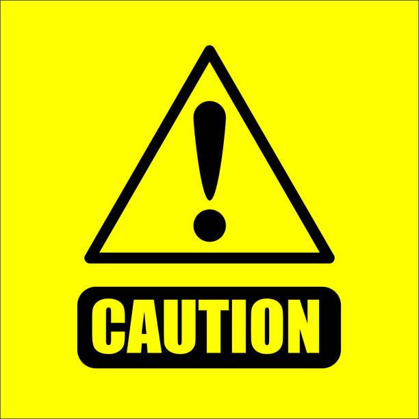 黄色の背景ベクトル上の警告記号 - 危機点のイラスト素材/クリップアート素材/マンガ素材/アイコン素材