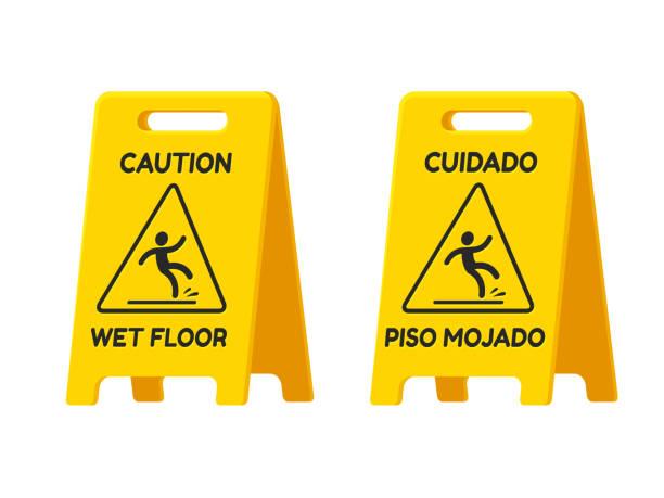 Caution, Wet Floor vector art illustration