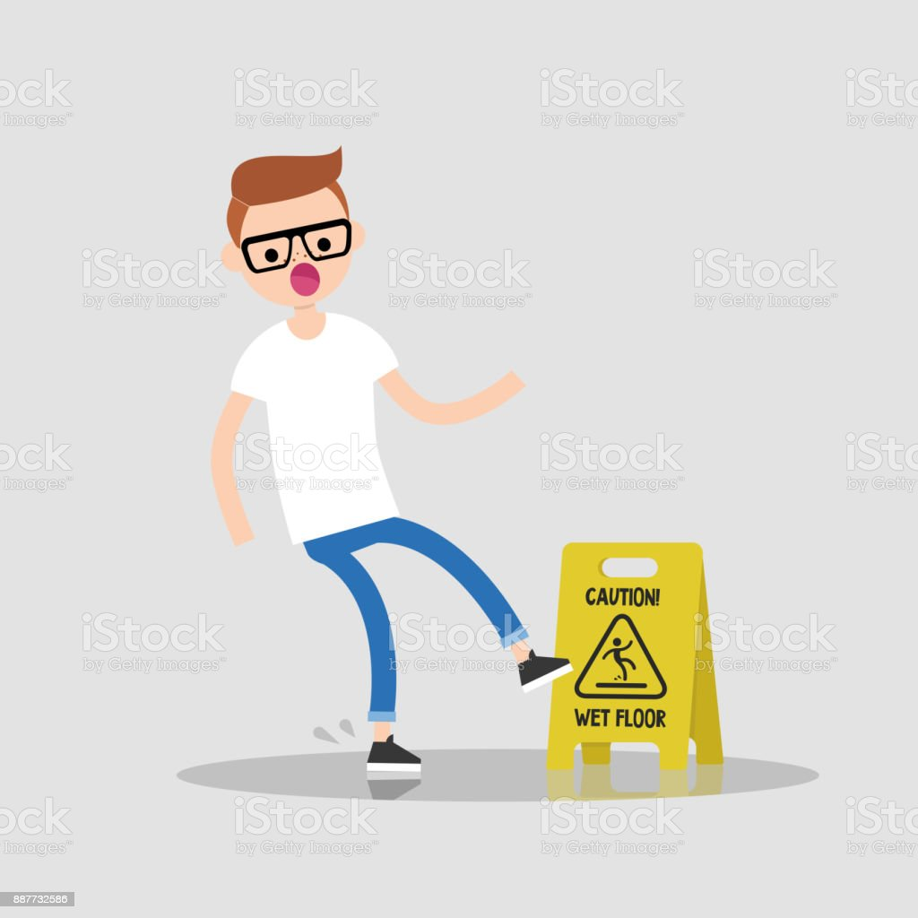 Caution, wet floor. Young character slipped on a wet surface. Falling down. Flat editable vector illustration, clip art vector art illustration