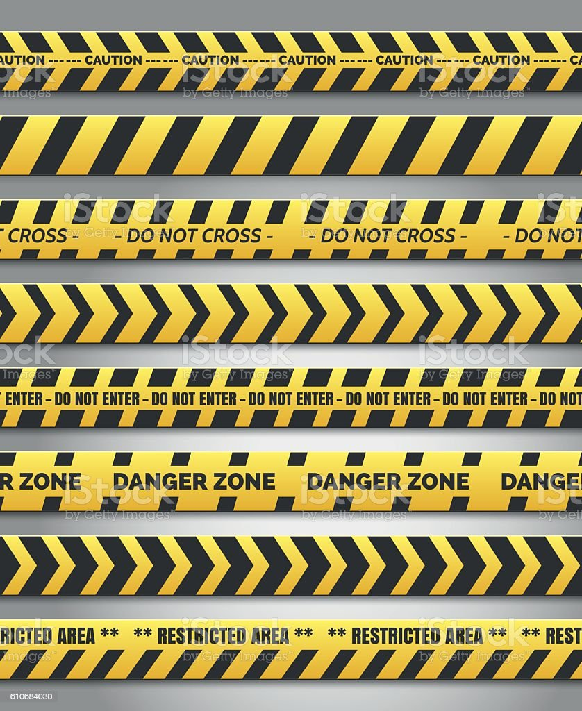 Caution yelow tape set vector art illustration