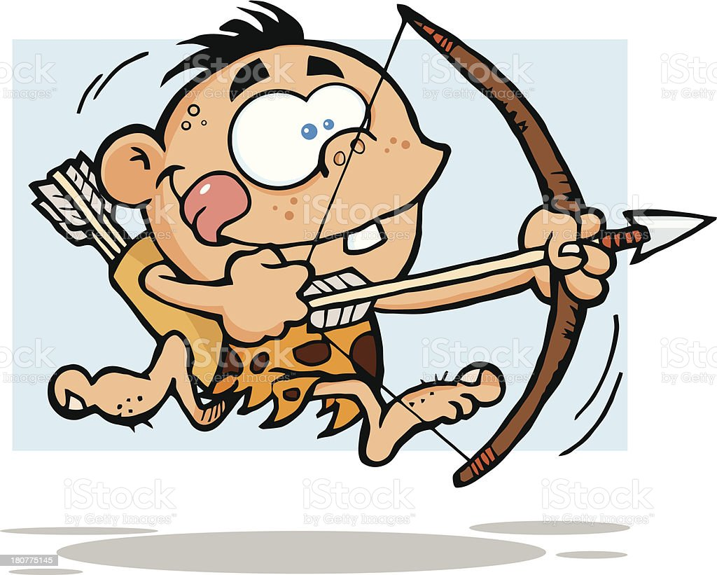 Cave Boy Running With Bow And Arrow royalty-free stock vector art