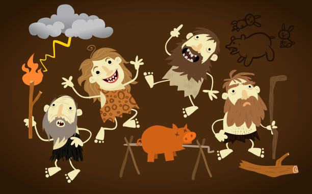 cave folks - paleo diet stock illustrations, clip art, cartoons, & icons