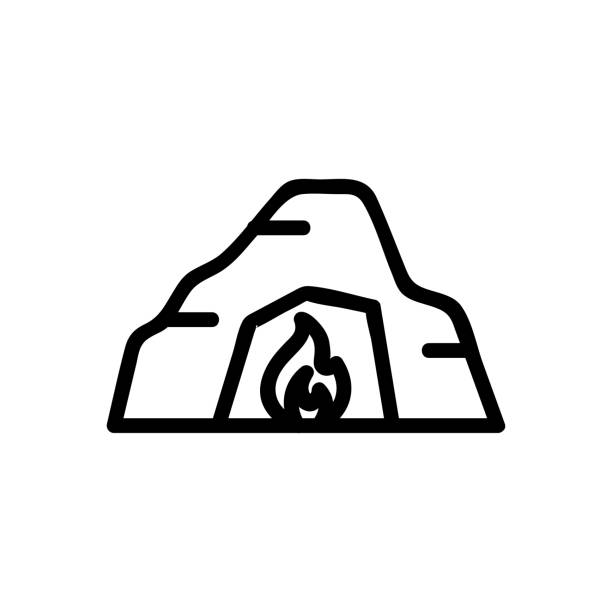 Cave icon vector. Isolated contour symbol illustration Cave icon vector. Thin line sign. Isolated contour symbol illustration image stock illustrations