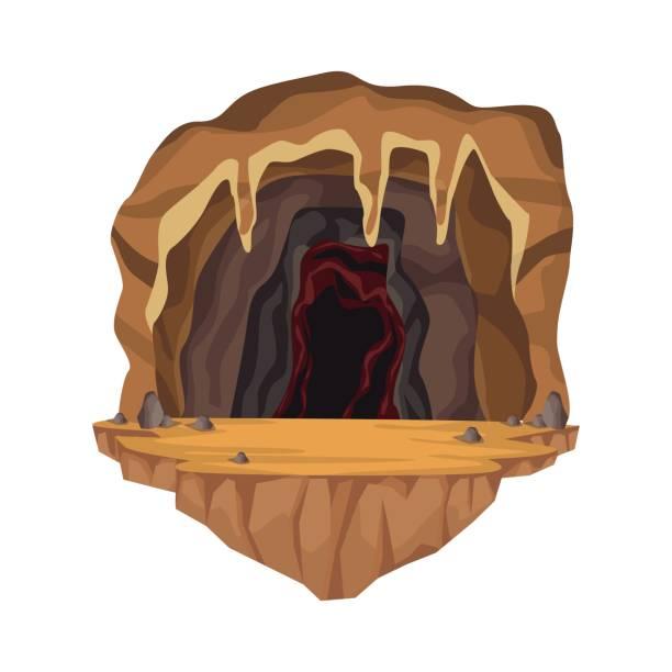 stockillustraties, clipart, cartoons en iconen met interieur scène in diepe berg grot - grot