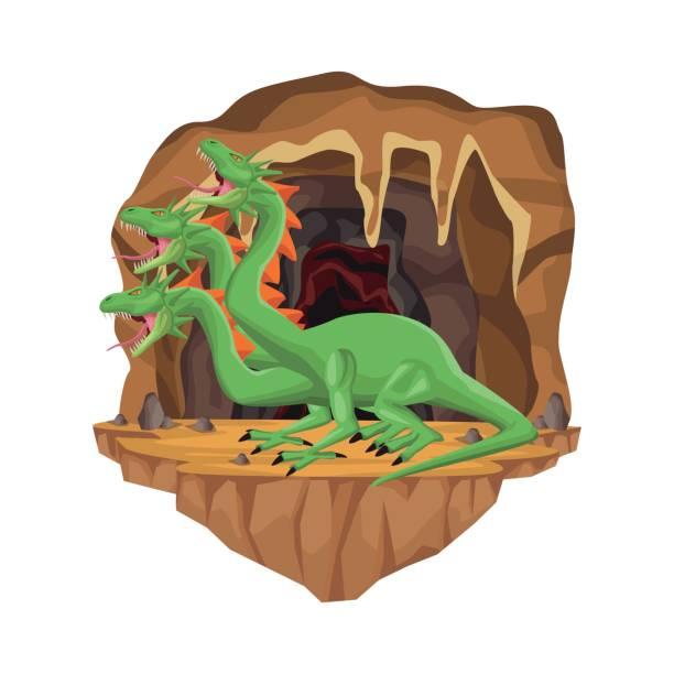 Cave interior scene with hydra mythological creature Cave interior scene with hydra mythological creature vector illustration rymdraket stock illustrations