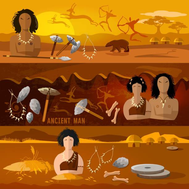 höhlenmenschen und höhle frau banner. steinzeit, neandertaler familie in einer höhle, prähistorische werkzeug. jungsteinzeit, paläolithischen, mesolith, anfang einer zivilisation. caveman kunst - eiszeit stock-grafiken, -clipart, -cartoons und -symbole
