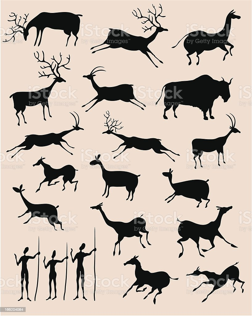 Cave painting animals vector art illustration