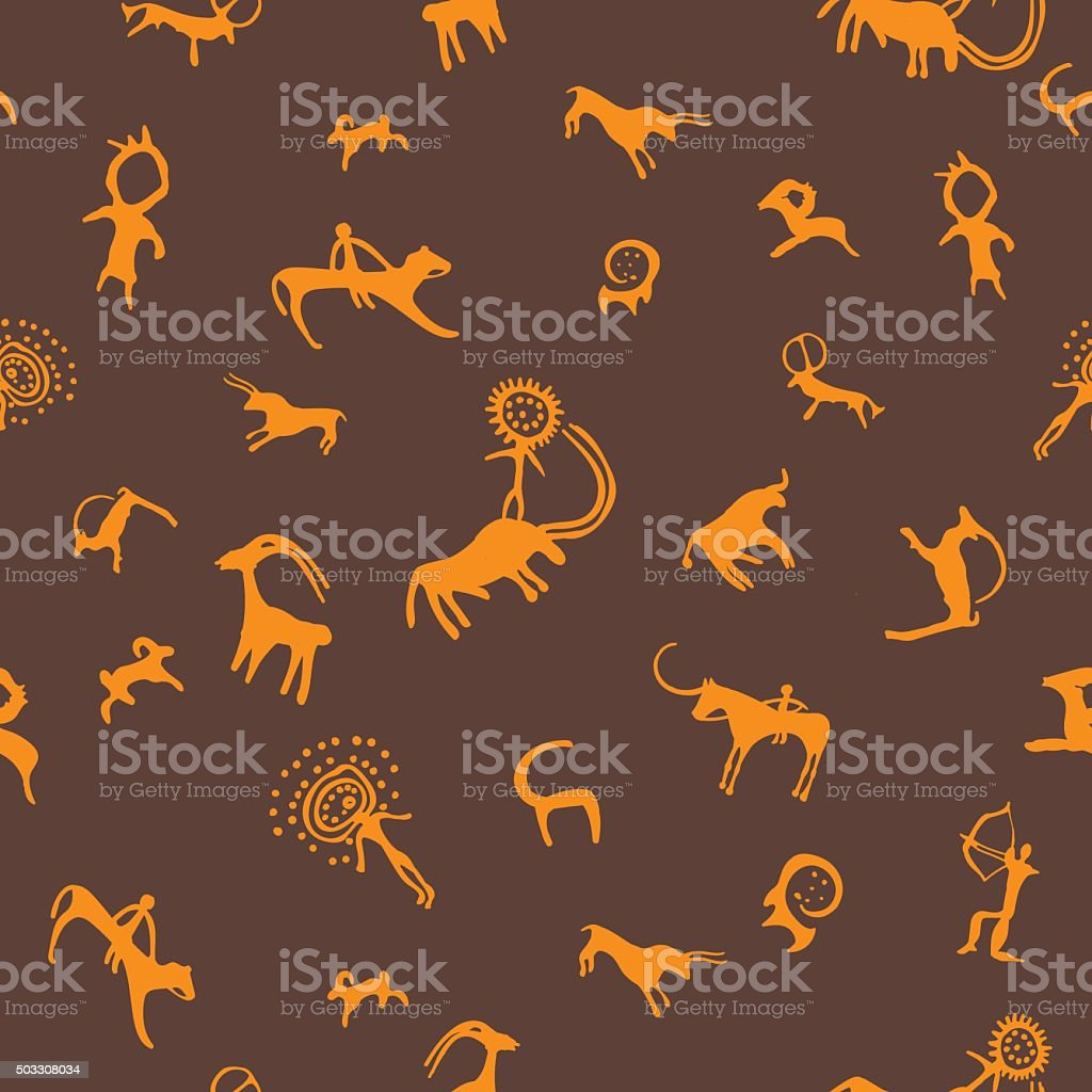 Cave painting seamless pattern vector art illustration