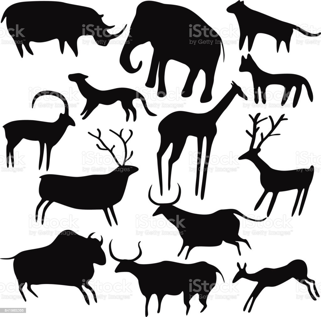 Cave painting, stylized animals silhouettes, rock art. vector art illustration