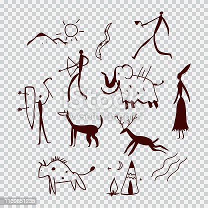Cave paintings vector cartoon illustration set.