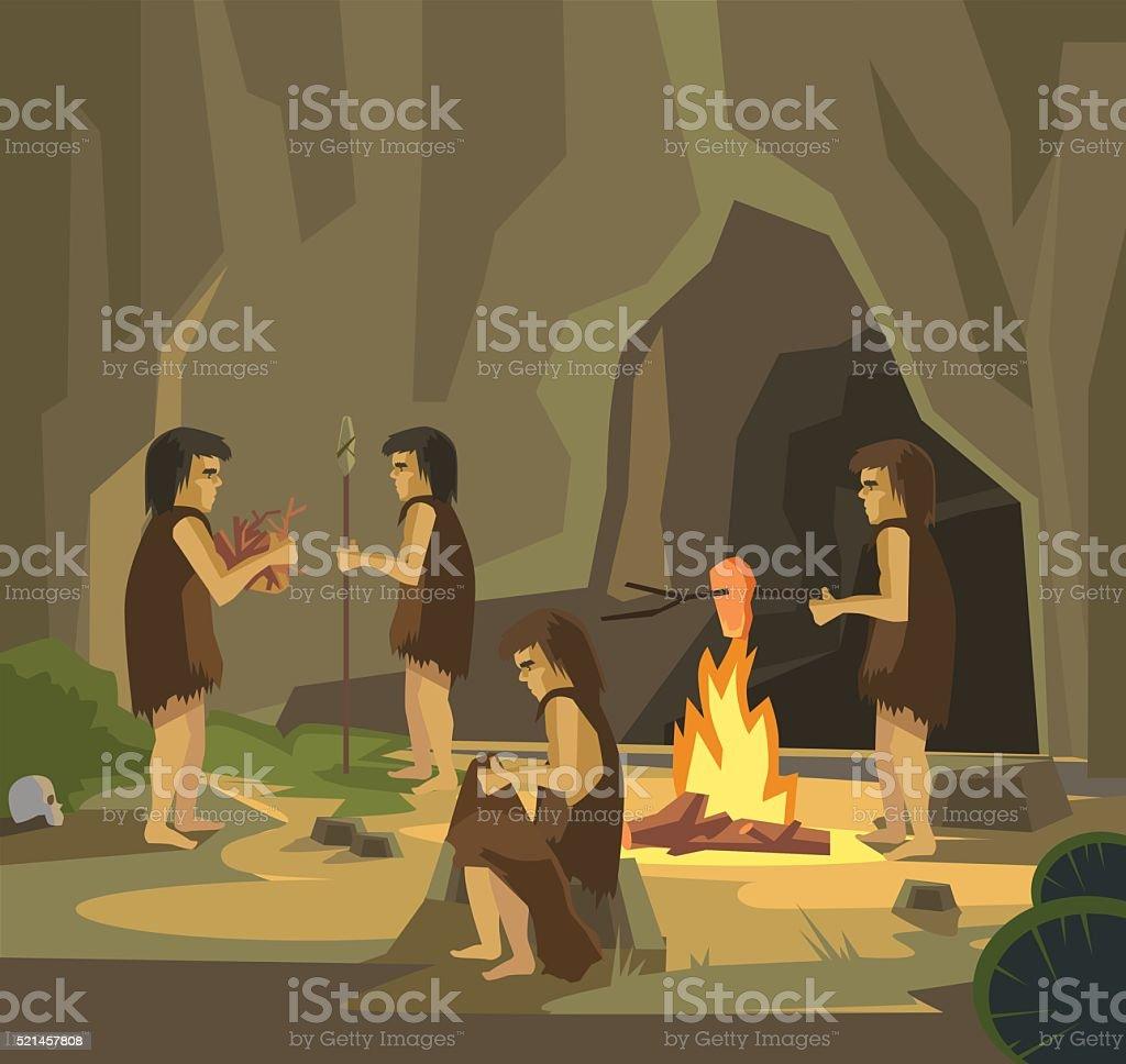 Cave people. Vector flat illustration vector art illustration