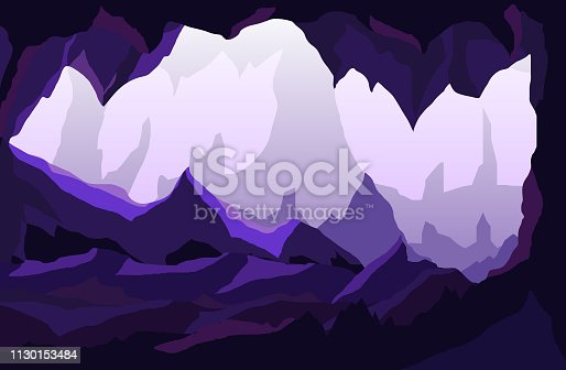 Vector Illustration of a cave in a purple light