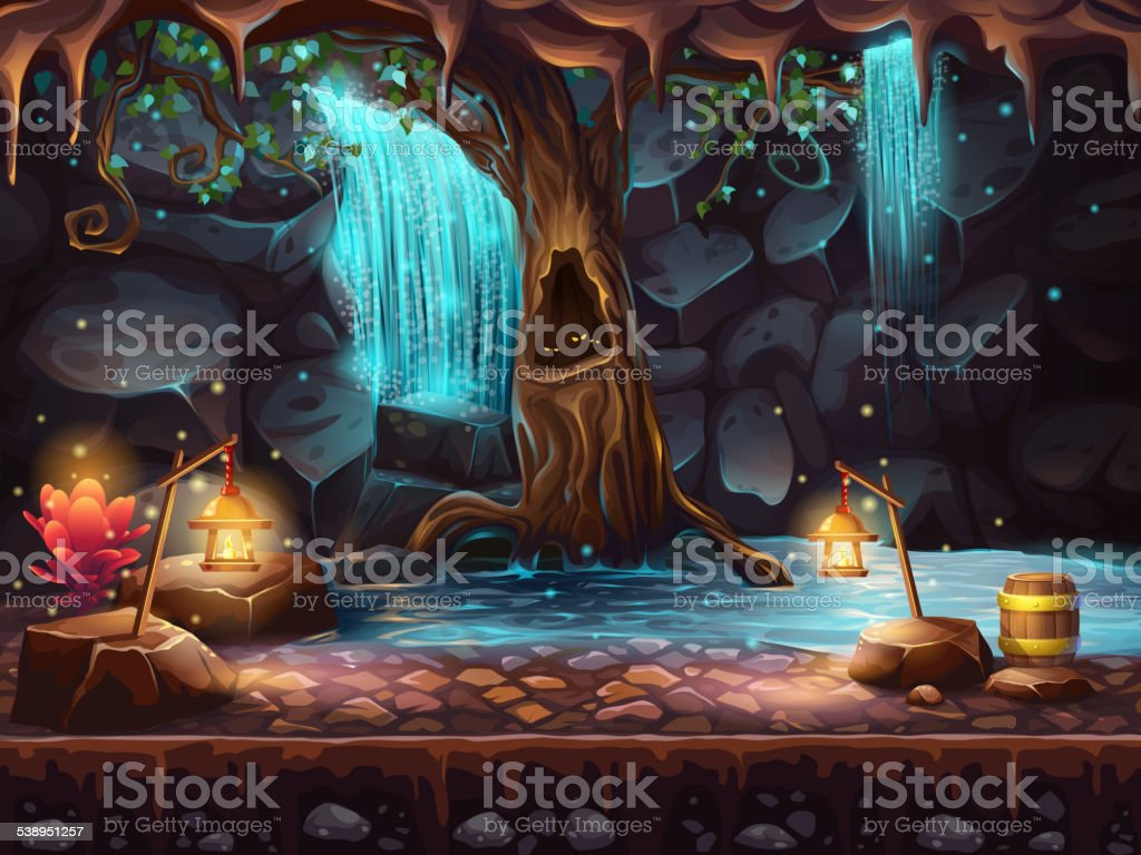 Cave with a waterfall - magic tree, barrel of gold vector art illustration