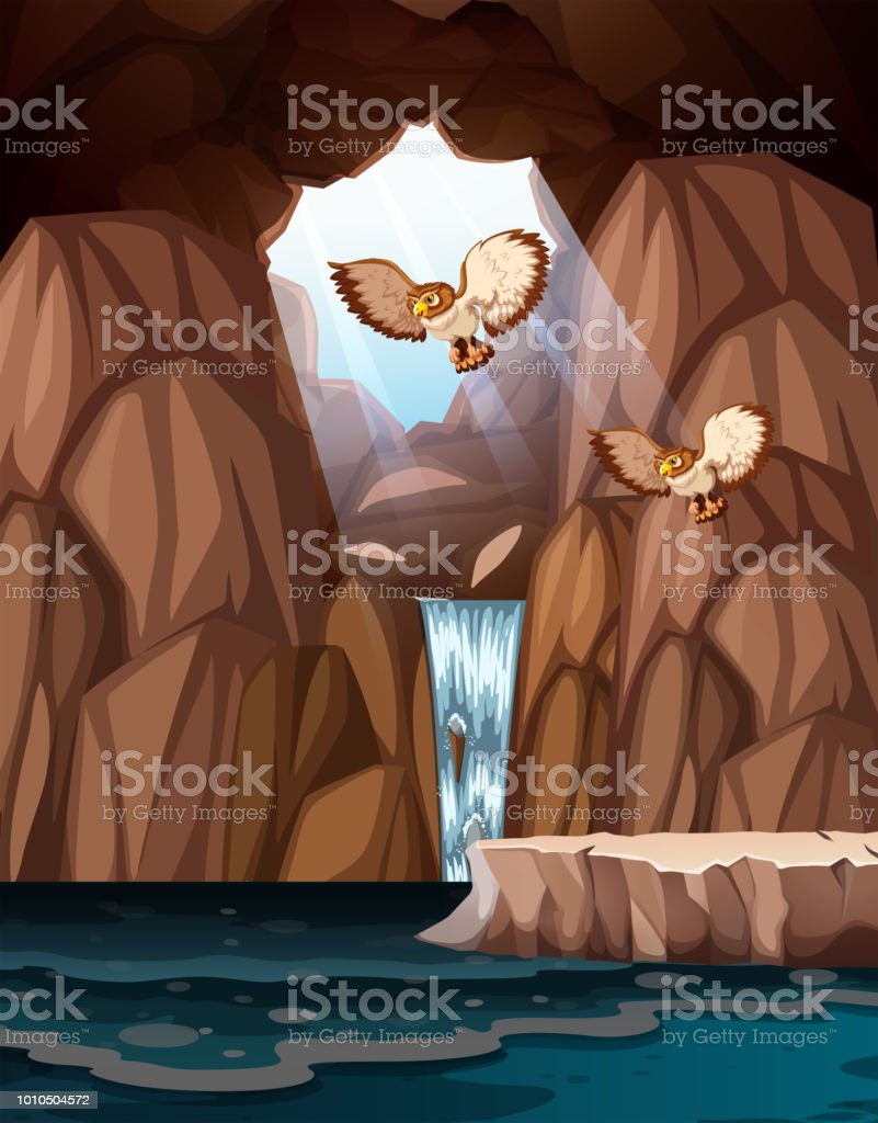 Cave with waterfalls and owls vector art illustration