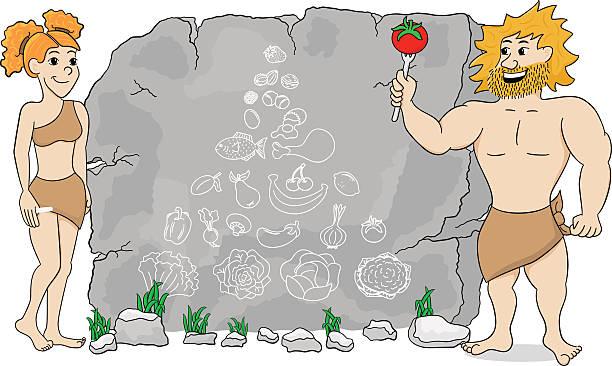 ilustrações, clipart, desenhos animados e ícones de caverna mulher explica paleodieta usando uma pirâmide de comida - dieta paleo