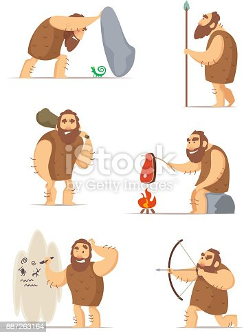 istock Caveman and different action poses 887263164