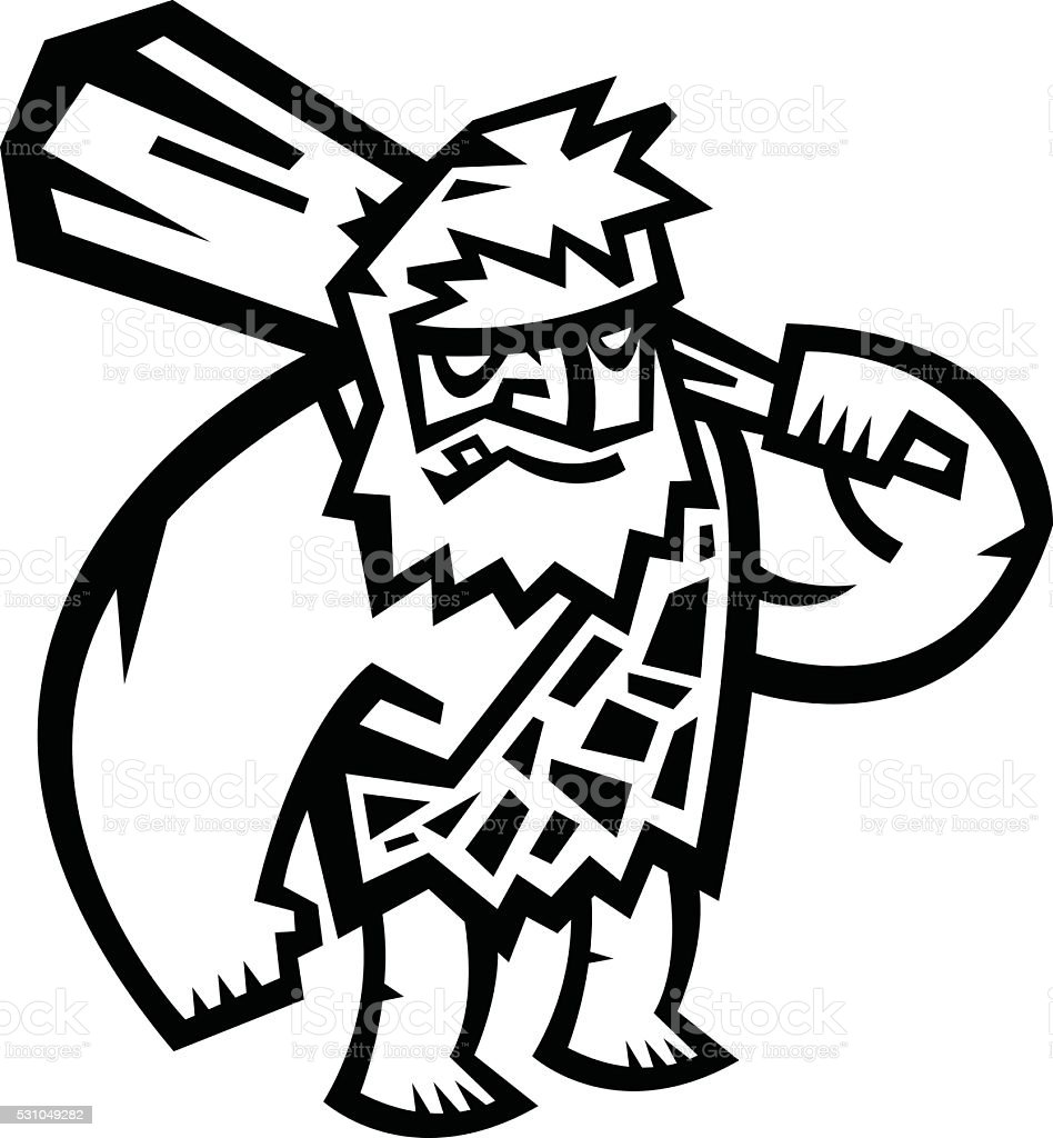 Caveman cartoon vector vector art illustration