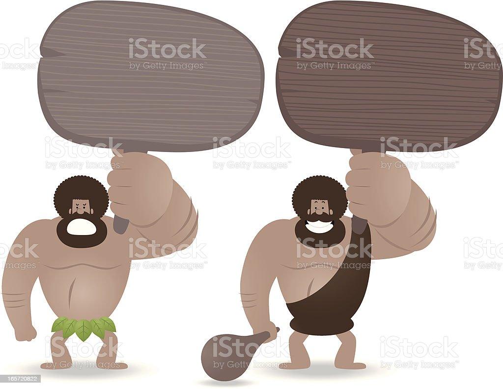 Caveman sosteniendo un cartel en blanco feliz y enojado estados de ánimo - ilustración de arte vectorial