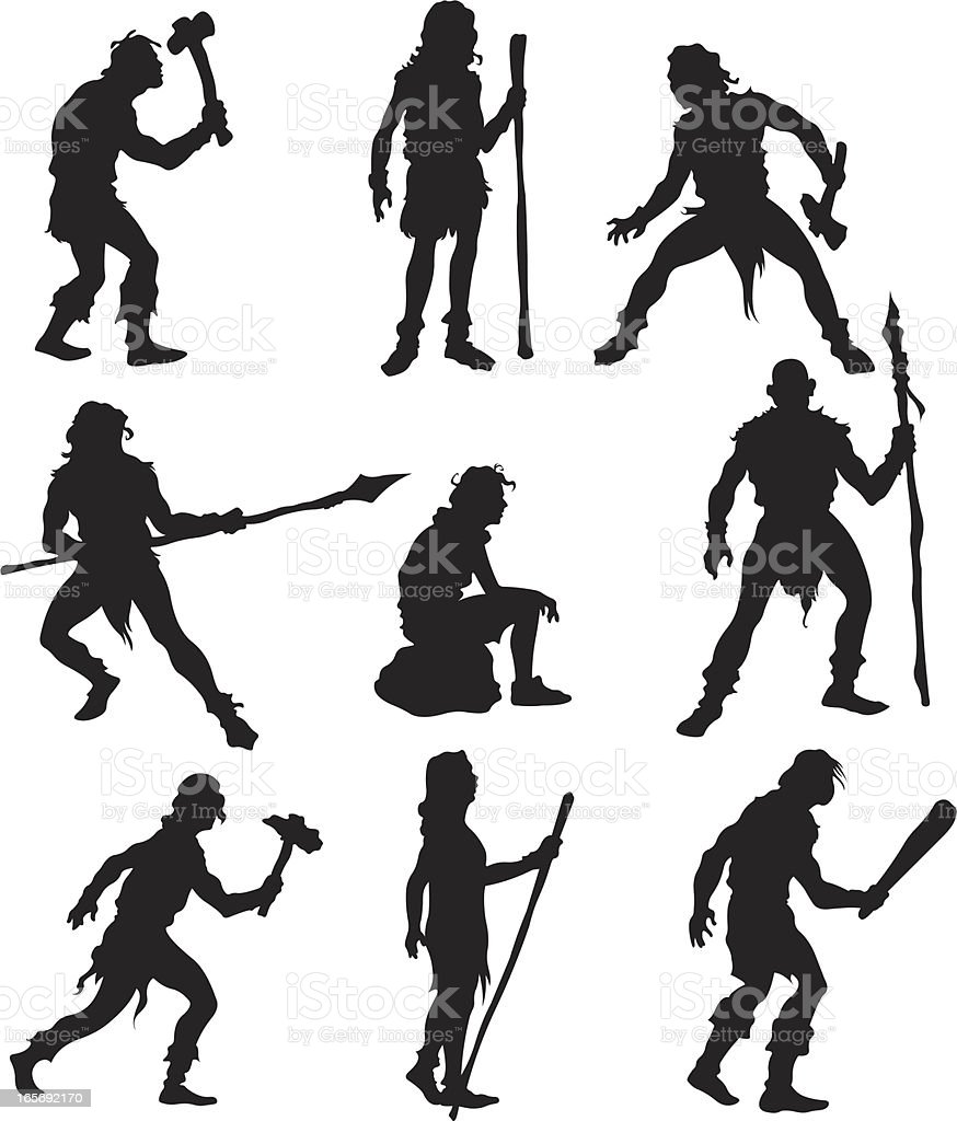 Caveman in action royalty-free stock vector art